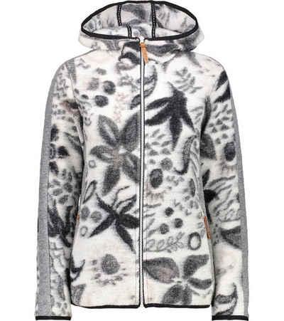 CAMPAGNOLO Fleecejacke »Campagnolo Print Tech Hoodie Fleece-Jacke verspielte Damen Wollfleece-Jacke mit angenehmer Haptik Herbst-Jacke Weiß-Schwarz«
