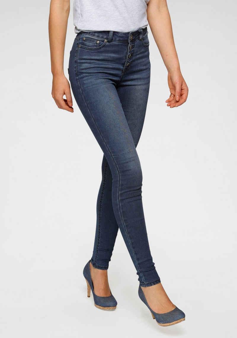 Arizona Skinny-fit-Jeans »Ultra Stretch« High Waist mit durchgehender Knopfleiste