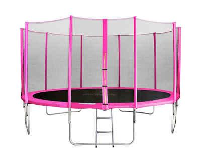 SixBros. Gartentrampolin »TP430/1767«, Ø 430.0 cm, Trampolin mit Sicherheitsnetz Pink Komplett-Set