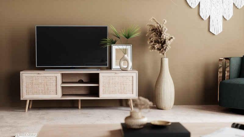 Newroom Sideboard »Mila«, TV Board Sonoma Eiche Rattan Optik Modern Boho TV Schrank Fernsehtisch Rack Skandinavisch Wohnzimmer Schlafzimmer