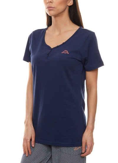 Kappa Kurzarmshirt »Kappa Shirt T-Shirt modisches Damen Kurzarm-Shirt Freizeit-Shirt Blau«
