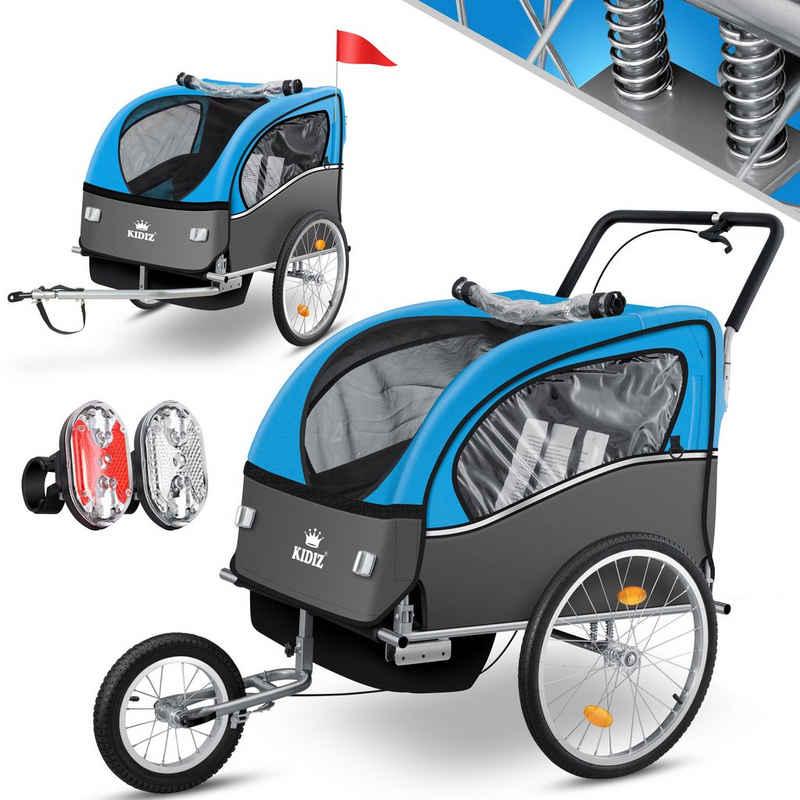 KIDIZ Fahrradkinderanhänger, Buggy und Fahrradanhänger mit Federung 5-Punkt Sicherheitsgurt inkl. Fahne Reflektoren und LED-Lichtern max. Belastbarkeit 70kg