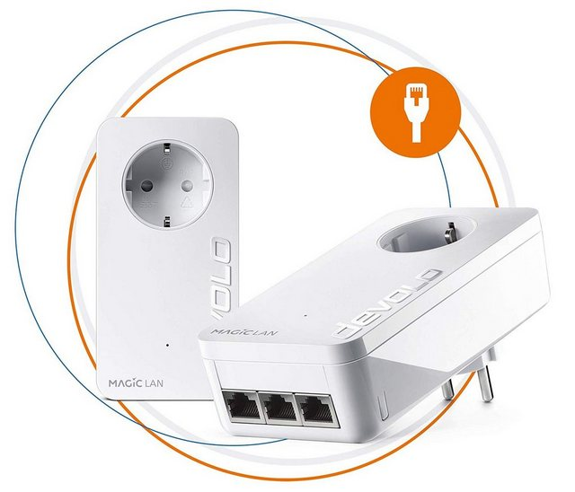 DEVOLO »Magic 2 LAN triple Starterkit« LAN-Router, (2400Mbit,Powerline,4x GbitLAN,Heimnetz)