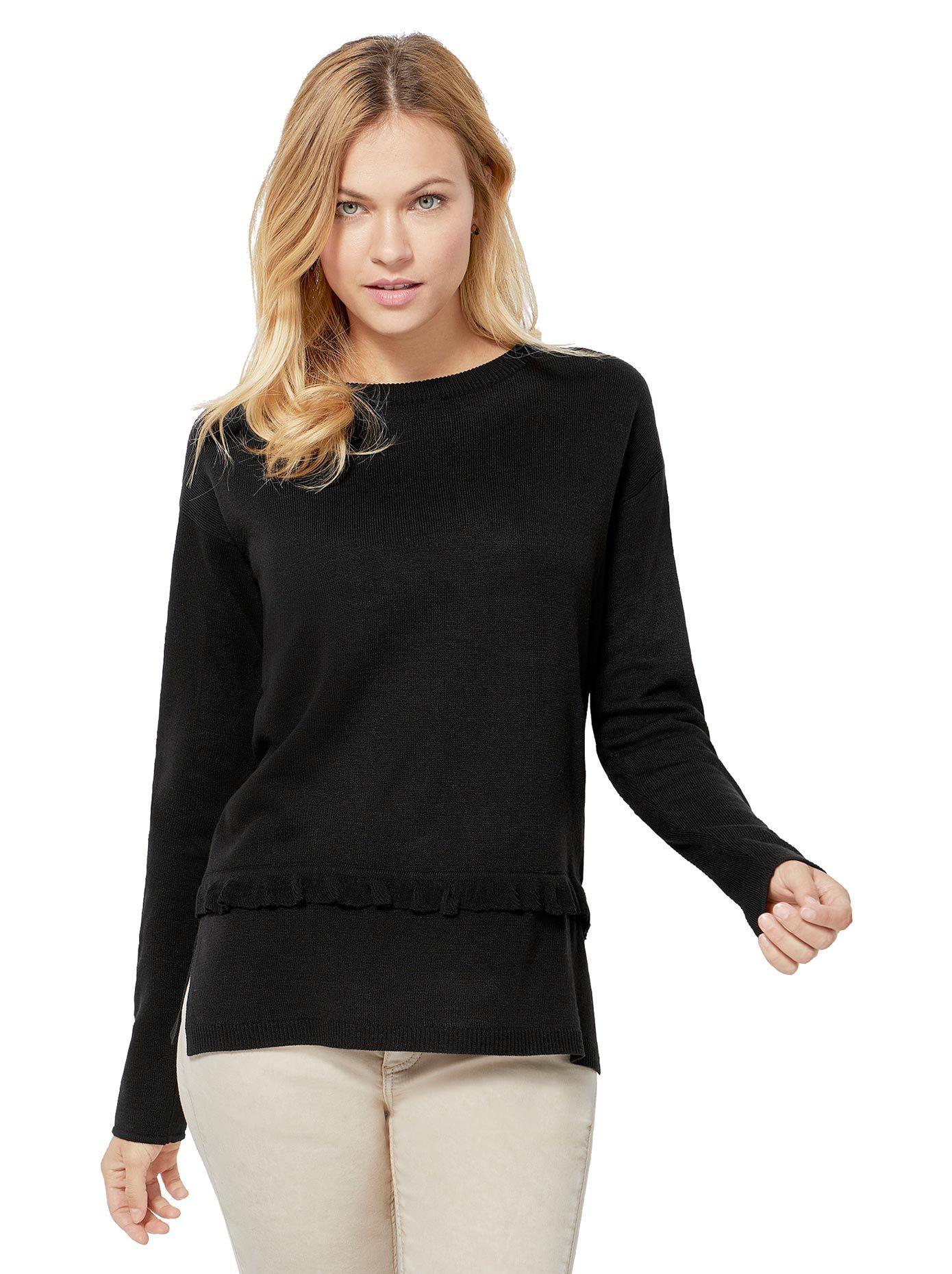 creation L création L Pullover mit Rüschen Bändchen, Pullover mit fein gerippten Abschlüssen online kaufen   OTTO