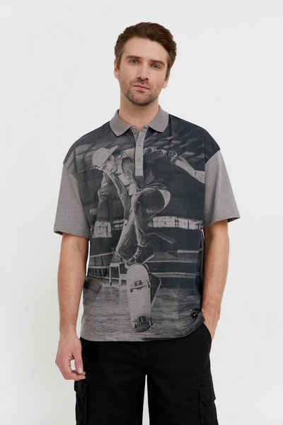 Finn Flare Poloshirt mit trendigem Frontdruck