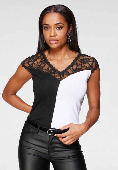Melrose T-Shirt mit zarter Spitze