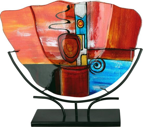 GILDE GLAS art Dekovase »New Life 1«, handbemalt mit Fusingglas-Elementen