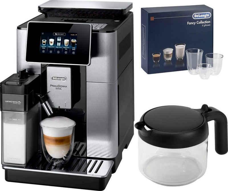 De'Longhi Kaffeevollautomat PrimaDonna Soul ECAM 610.75.MB mit Kaffeekannenfunktion, silber, inkl. Kaffeekanne im Wert von UVP € 29,99 + Gläser-Set im Wert von 46,90 UVP