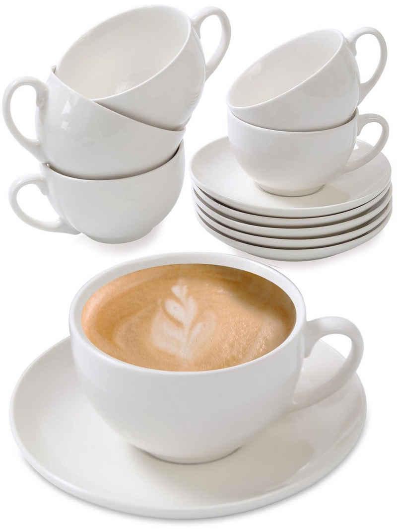 Cosumy Cappuccinotasse »Cappuccino Tassen 6er Set aus Keramik Weiß«, Keramik, Mit Untertassen - Hält Lange warm - Spülmaschinenfest - 180ml