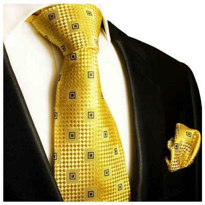 Paul Malone Krawatte »Herren Seidenkrawatte und Tuch modern kariert 100% Seide« (Set, 2-St., Krawatte mit Einstecktuch) Schmal (6cm), gold 461