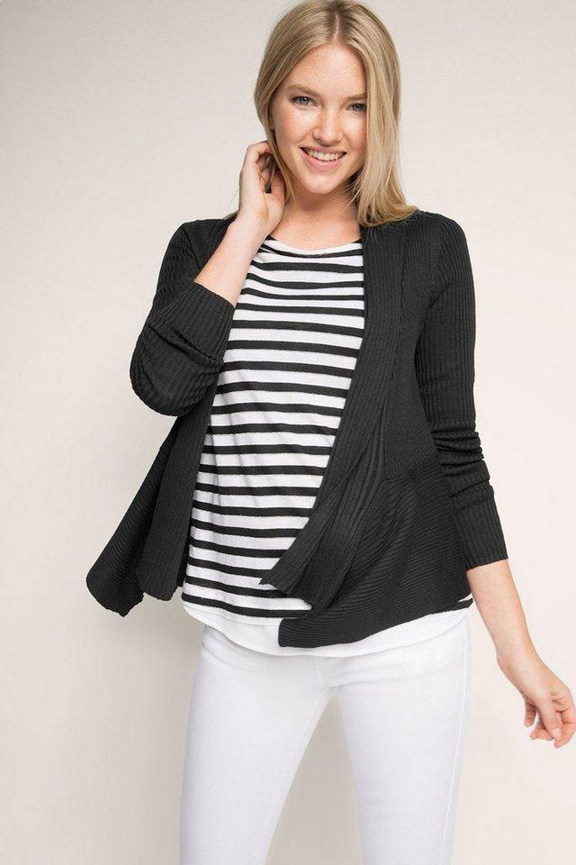 ESPRIT CASUAL Gerippter Feinstrick-Cardigan in BLACK