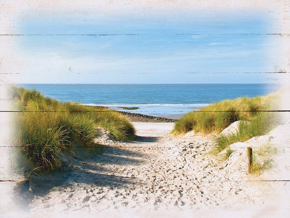 Holzbild, Home affaire, »Strand mit Sanddünen«, 80/60 cm in Creme