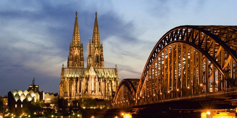 Glasbild, Home affaire, »Köln bei Nacht«, 60/30 cm in Blau