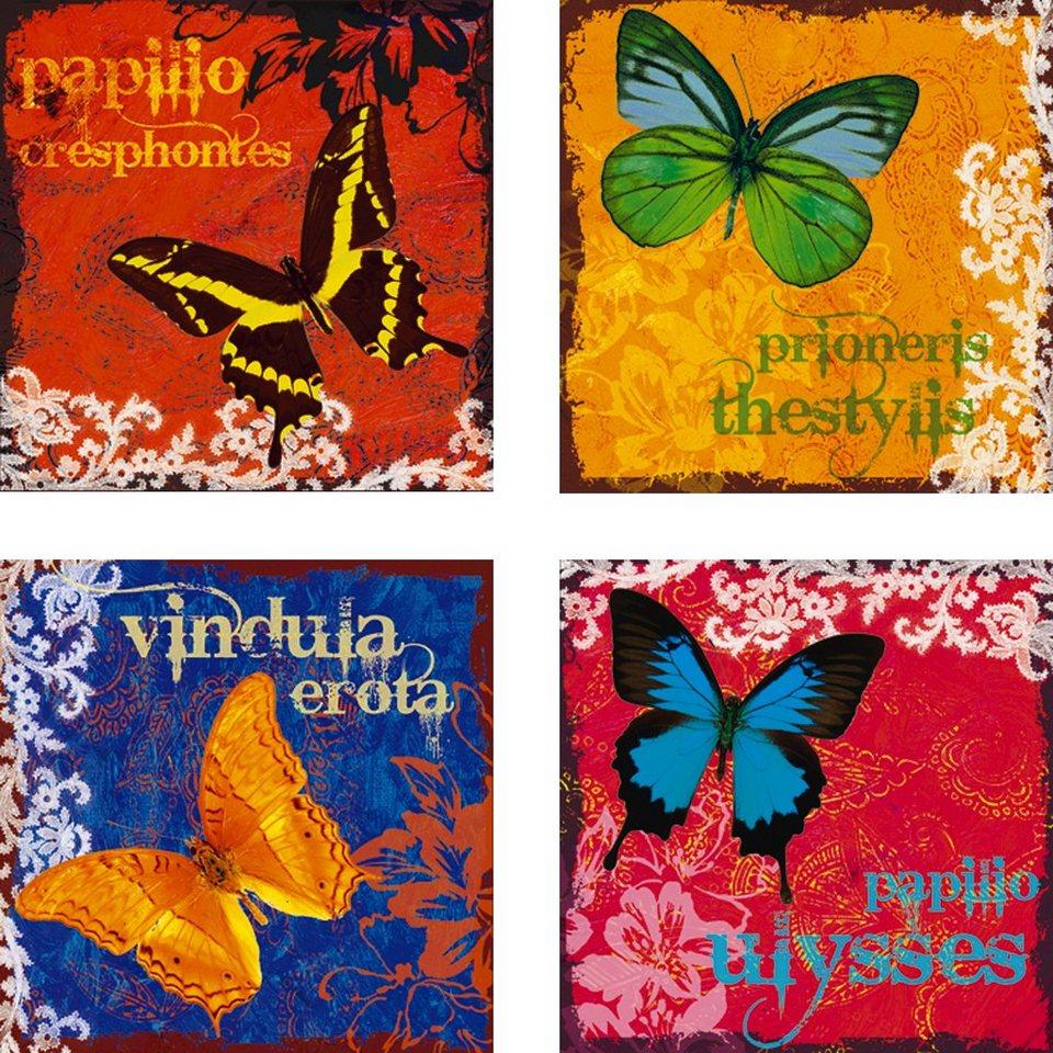 Leinwandbild, Home affaire, »Schmetterlinge«, 4er Set in Bunt