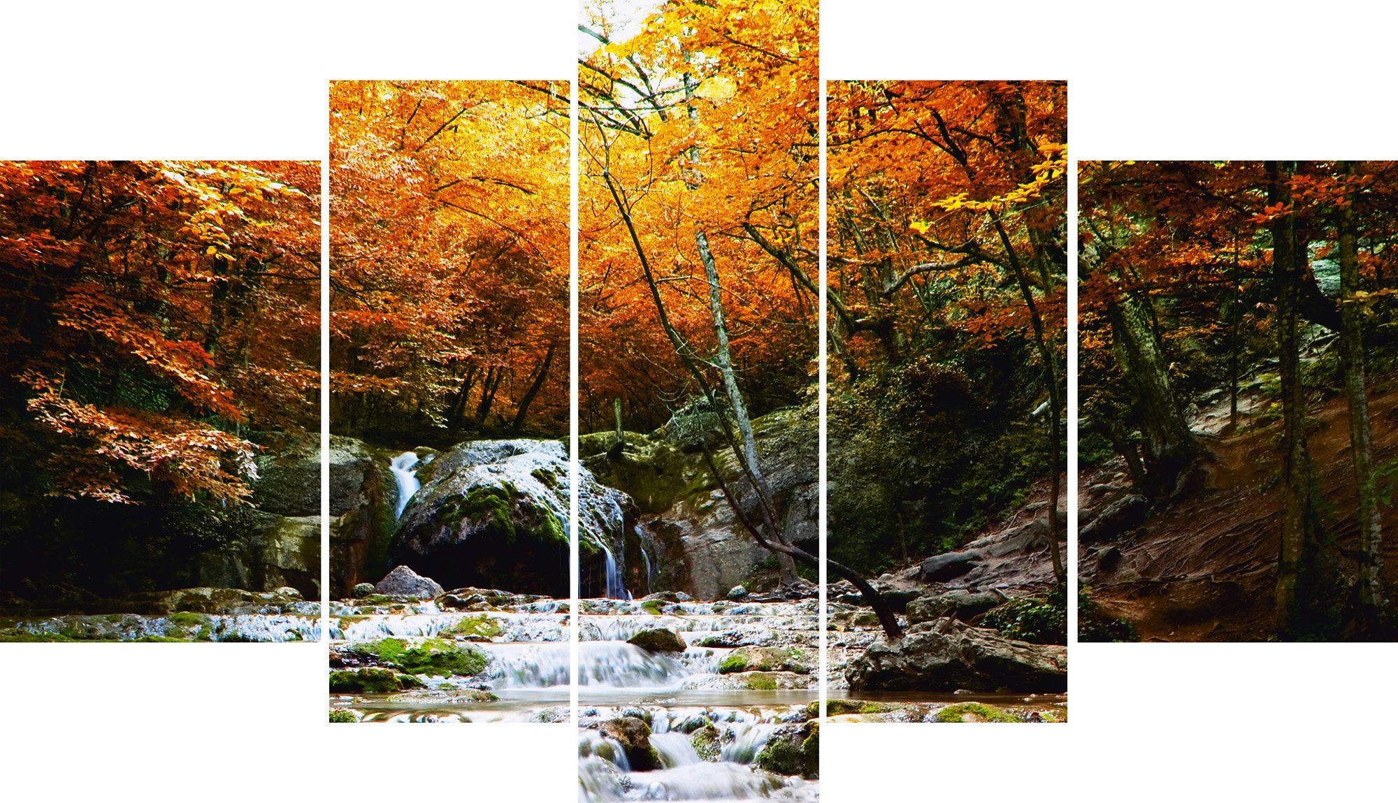 Leinwandbild, Home affaire, »Herbstlicher Wasserfall«, 5 tlg.