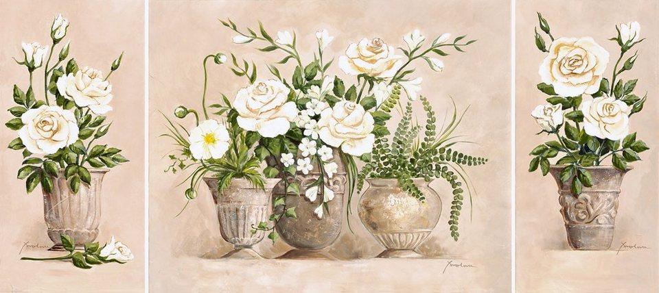 Kunstdruck auf Holzfaserplatte, Home affaire, »Rosen Bouquet«, 3er Set, 132/59 cm in Creme