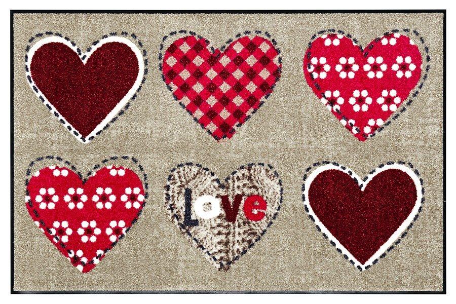 Fußmatte »Lovely« in rot/beige