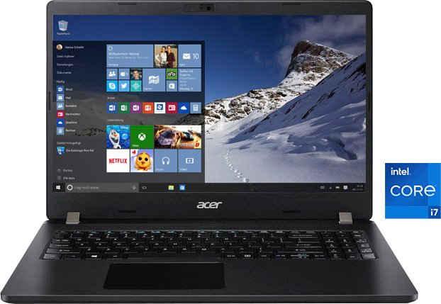 Acer TMP215-53-79KD Notebook (39,62 cm/15,6 Zoll, Intel Core i7 1165G7, Iris Xe Graphics, 512 GB SSD, Kostenloses Upgrade auf Windows 11, sobald verfügbar)
