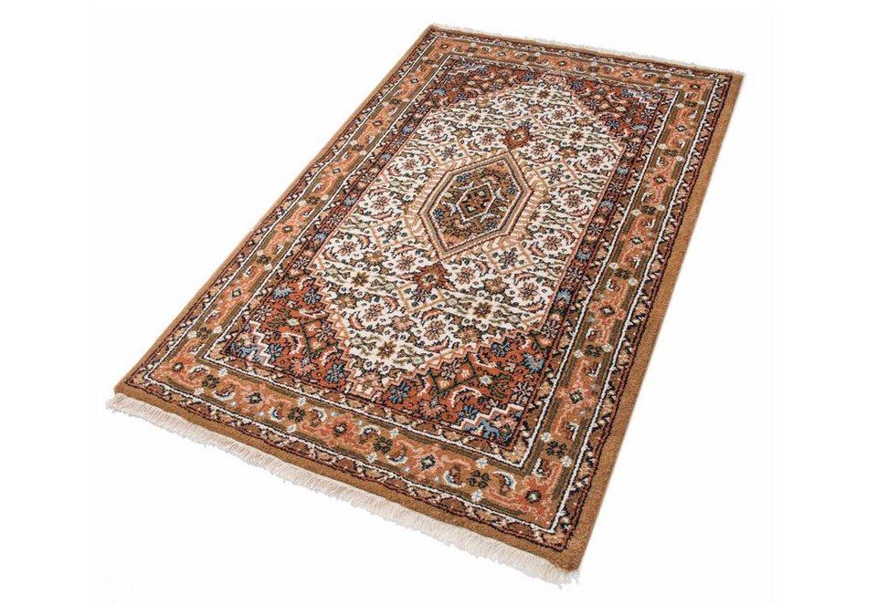 Teppich, Parwis,»Indo Bidjar Ghalip«, 4kg/m², 75.000 Knoten/m², handgeknüpft, Wolle in creme