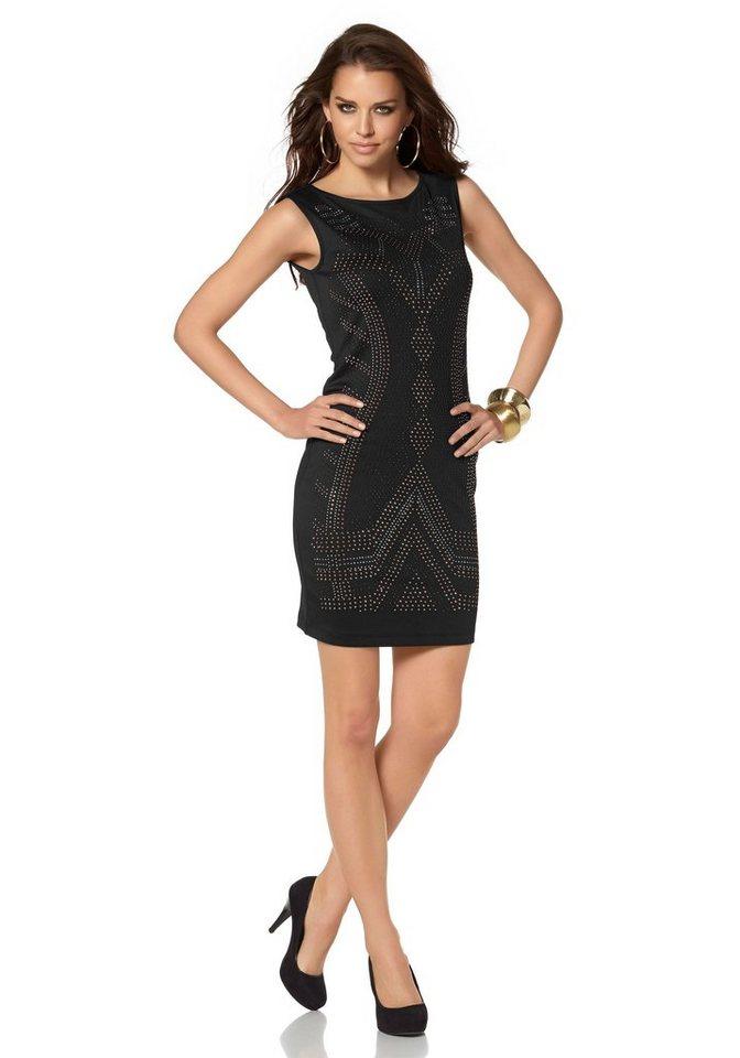 Laura Scott Cocktailkleid mit Ziernieten in schwarz-goldfarben
