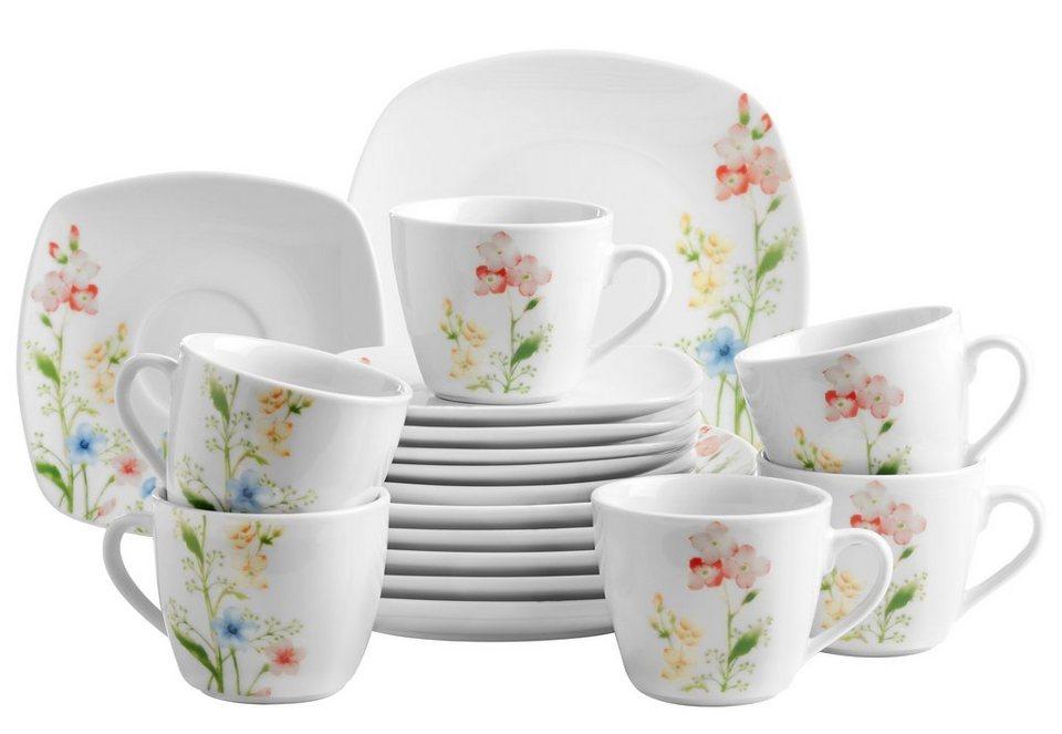 Porzellan-Serie, »Ontario«, Domestic in weiß mit Blumendekor