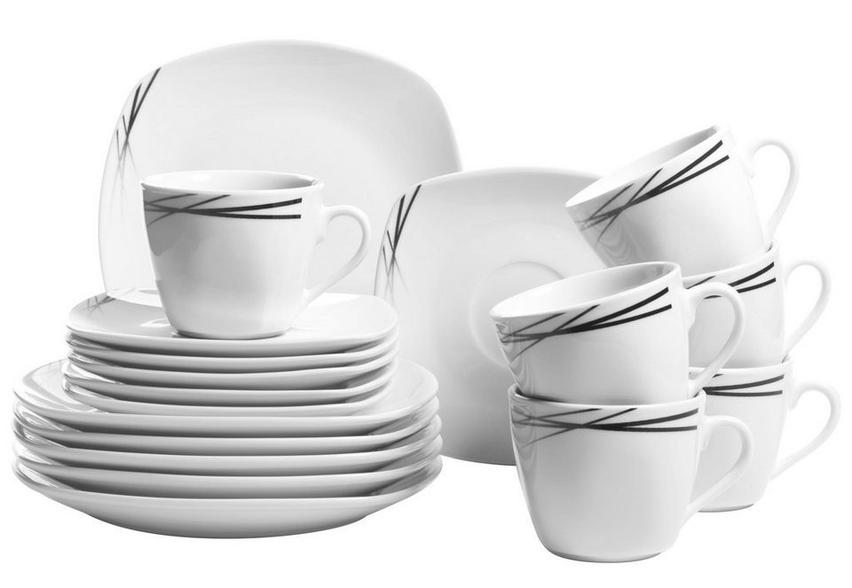 Porzellan-Serie, »Bellary«, Domestic in weiß mit schwarzem Liniendekor