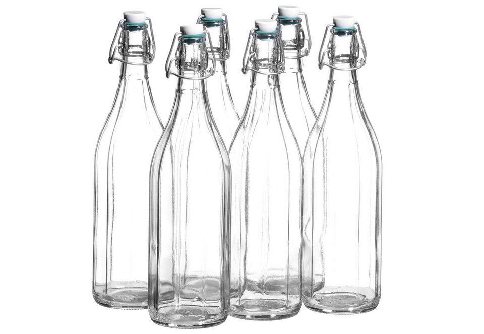 Fruchtsaftflaschen mit Bügelverschluss (6tlg.) in transparent