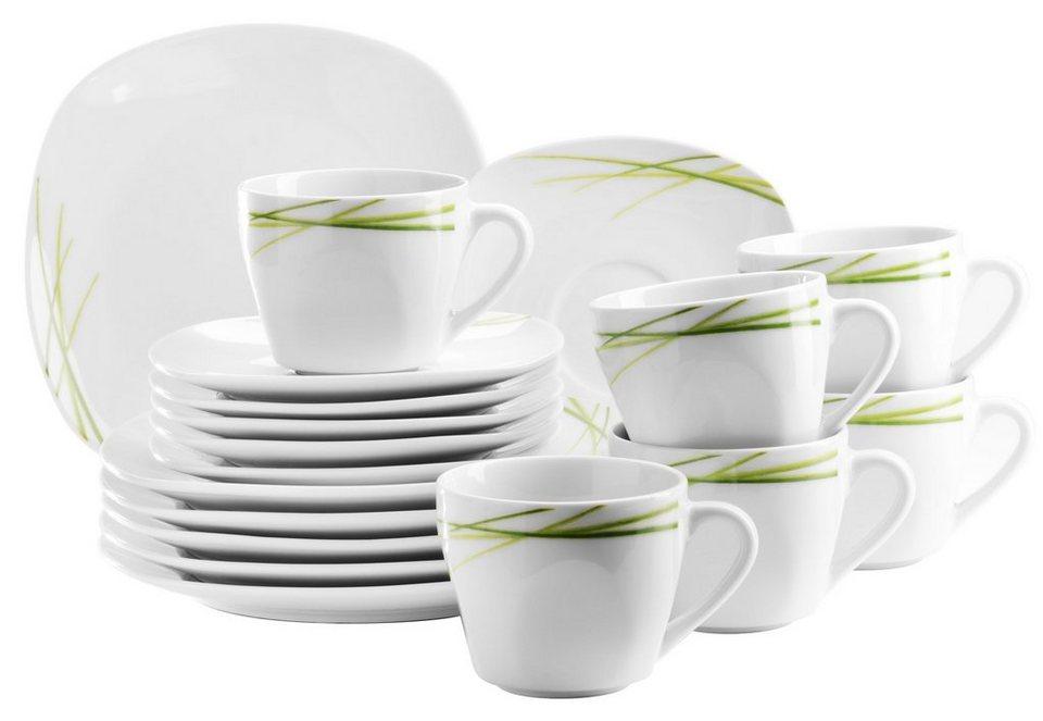 Porzellan-Serie, »Morena«, Domestic in weiß mit grünem Liniendekor