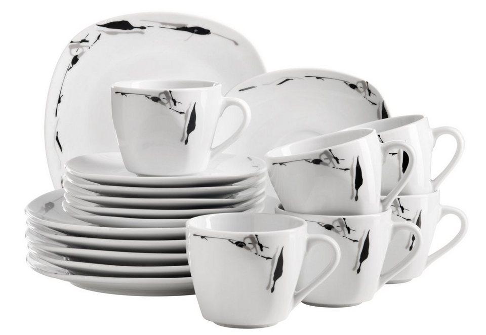 Porzellan-Serie, »Loni«, Domestic in weiß mit schwarzem Dekor