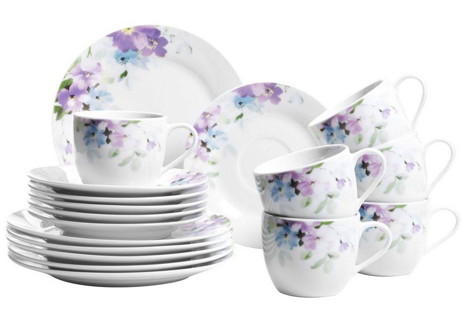 Porzellan-Serie, »Mona«, Domestic in weiß mit Blumendekor