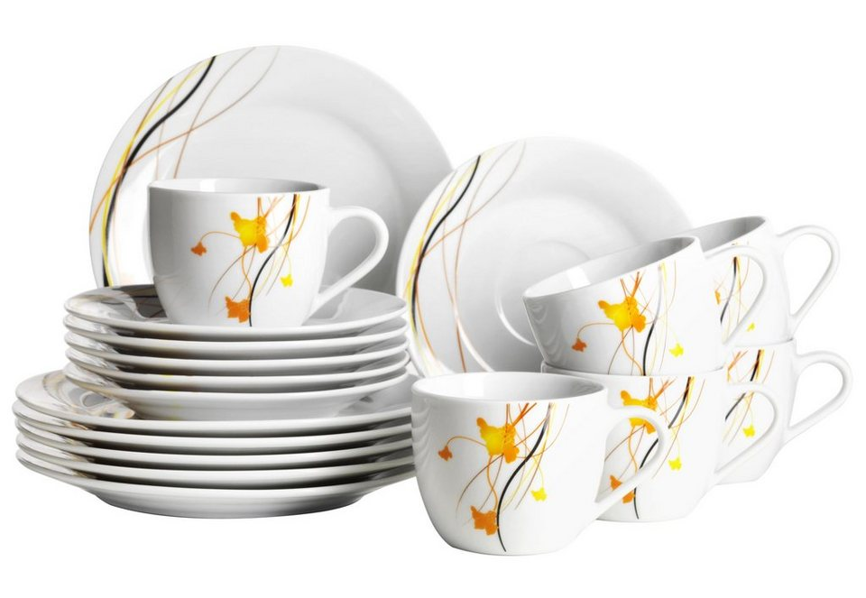 Porzellan-Serie, »Akadien«, Domestic in weiß mit Liniendekor