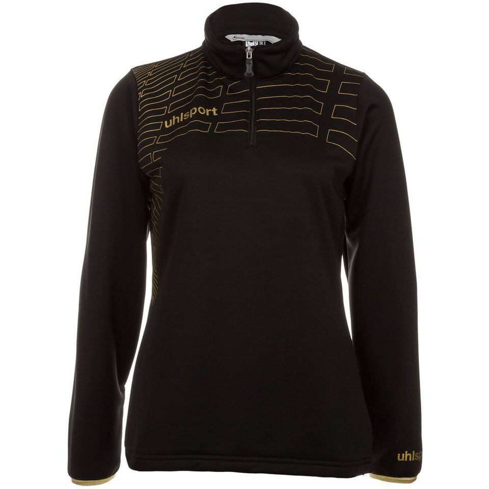 UHLSPORT Match 1/4 Zip Top Damen in schwarz/gold