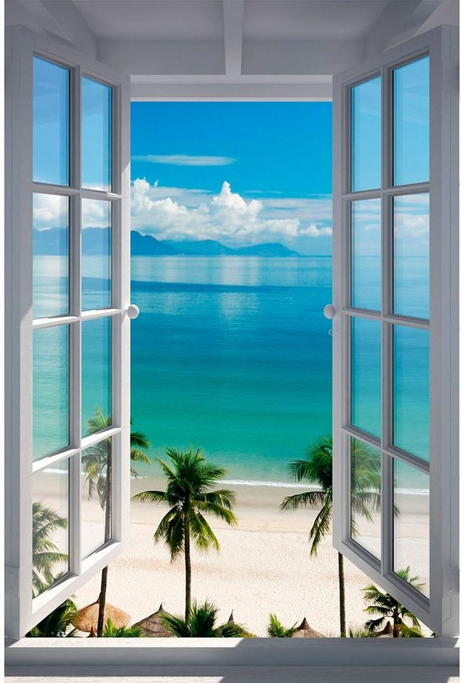 Bild, Home affaire, »Strand Fenster«, 60/90 cm in blau