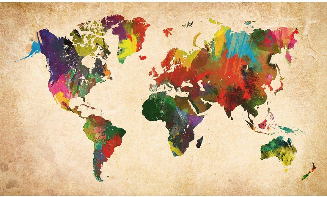 Home affaire Bild »Weltkarte in Farben«, 118/70 cm