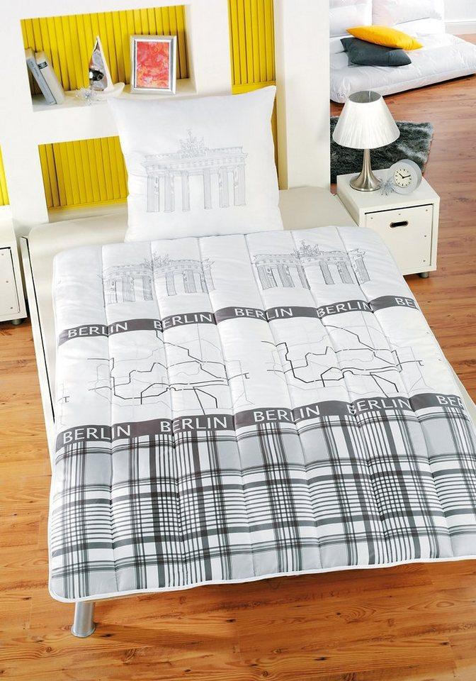 set microfaserbettdecke kopfkissen berlin kbt bettwaren 2 tlg online kaufen otto. Black Bedroom Furniture Sets. Home Design Ideas