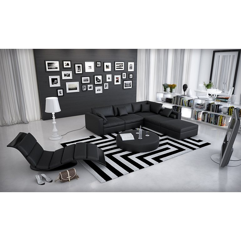 moderne wohnzimmer schwarz weiss. Black Bedroom Furniture Sets. Home Design Ideas