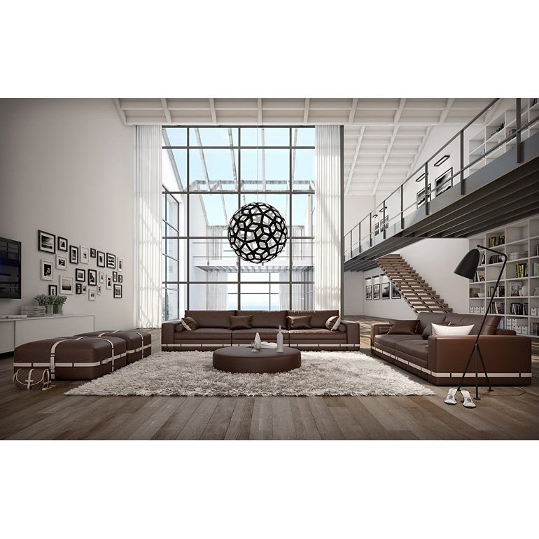 Moderne Wohnzimmer Idee Mit Kunstledergarnitur