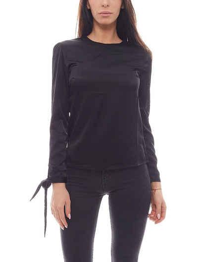 NA-KD Shirtbluse »NA-KD Fashion x THERESE LINDGREN Blusen-Shirt seidenartige Damen Bluse Party Schwarz«