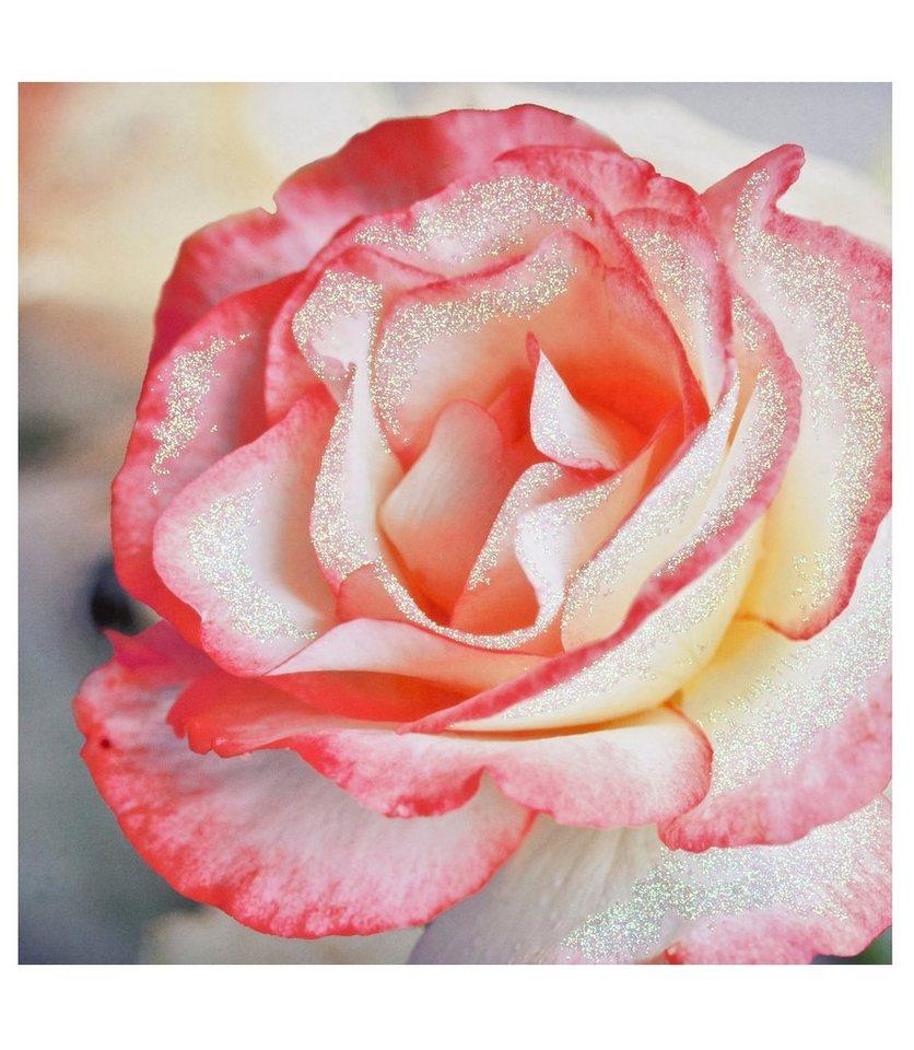 Leinwandbild »Rosentau«, Glitzer in rosa