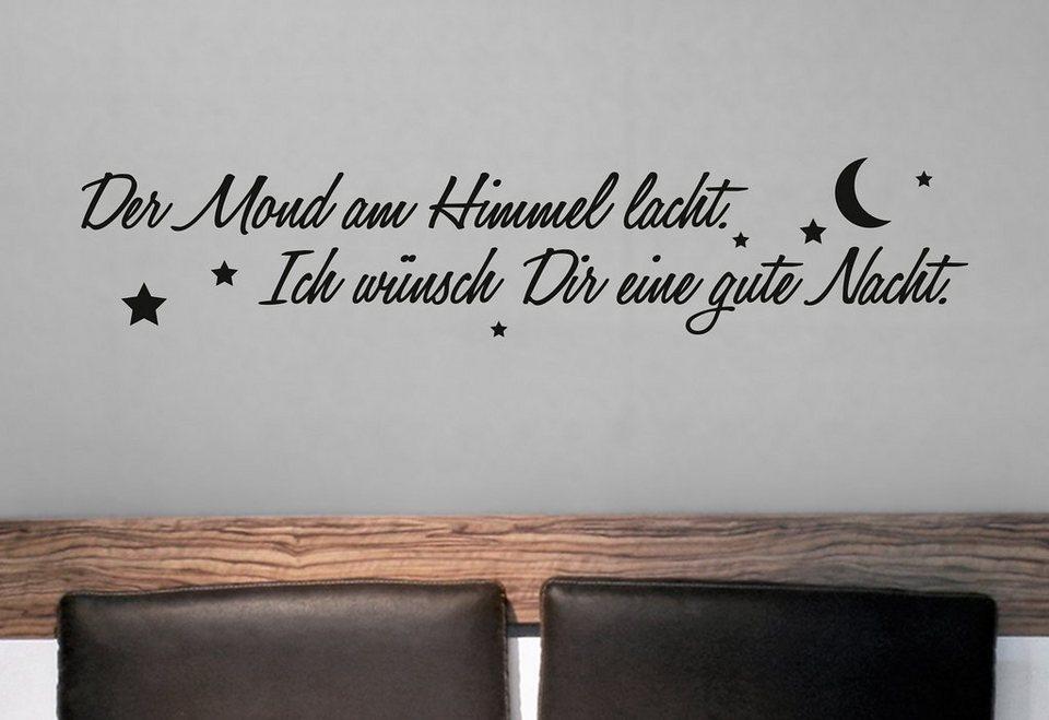 Wandtattoo »Der Mond am Himmel lacht...« in schwarz
