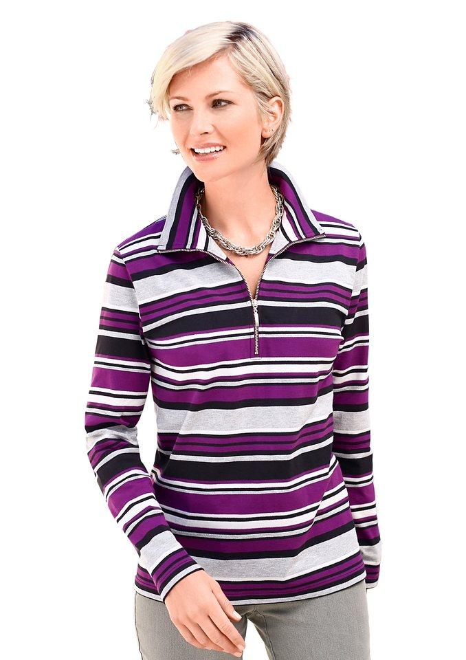 Collection L. Sweatshirt in lila-gestreift