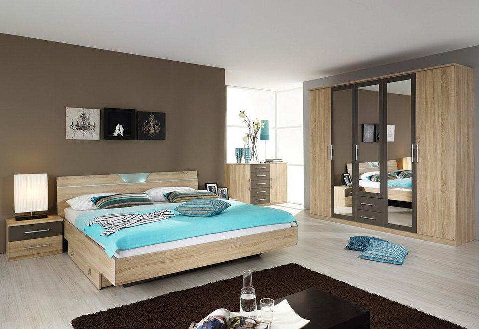 rauch Schlafzimmer-Set (4-tlg.) in stuktureichefarben/lavagrau