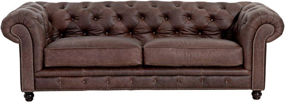 Braunes Retro Sofa im Chesterfield-Look