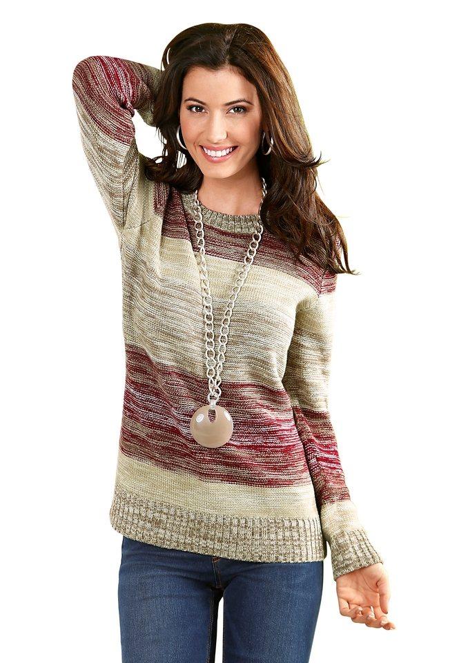 Classic Basics Pullover mit Rundhals-Ausschnitt in weinrot-khaki-meliert