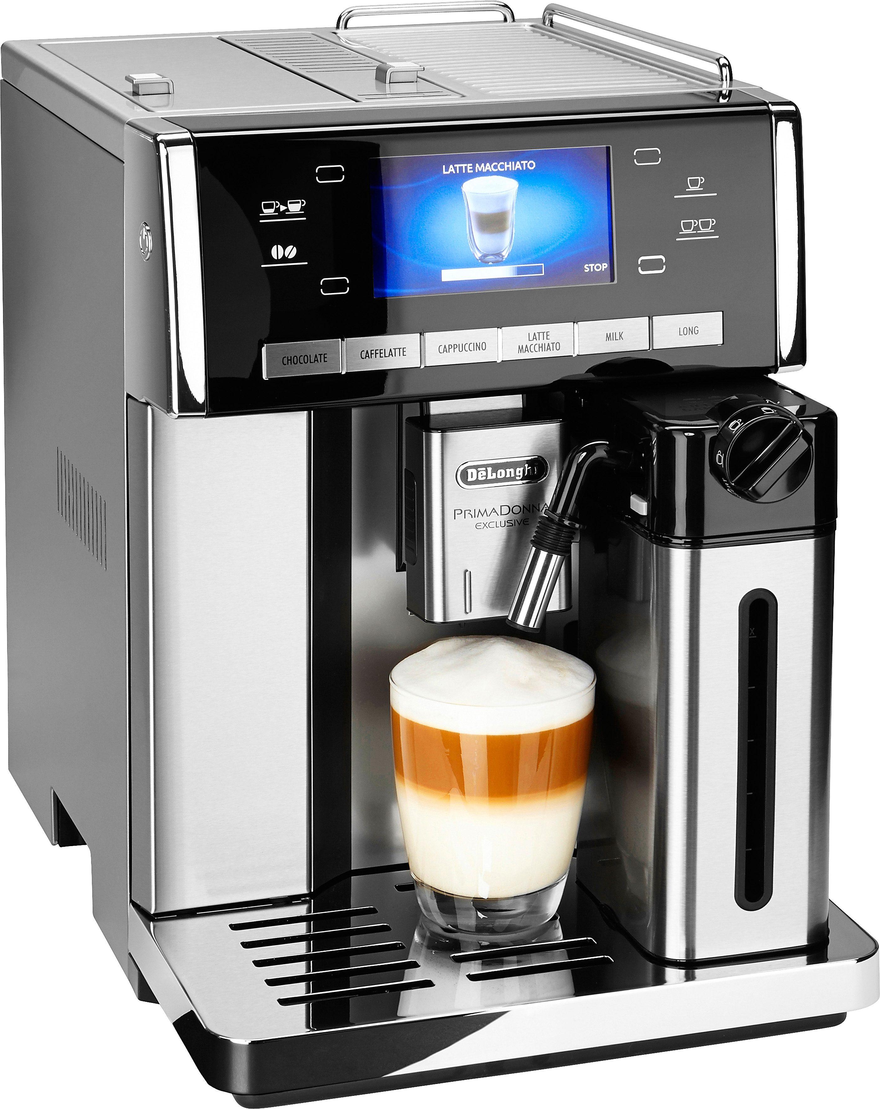 DELONGHI Kaffeevollautomat PrimaDonna Exclusive ESAM 6900.M, 1,4l Tank, Kegelmahlwerk, Trinkschokolade auf Knopfdruck