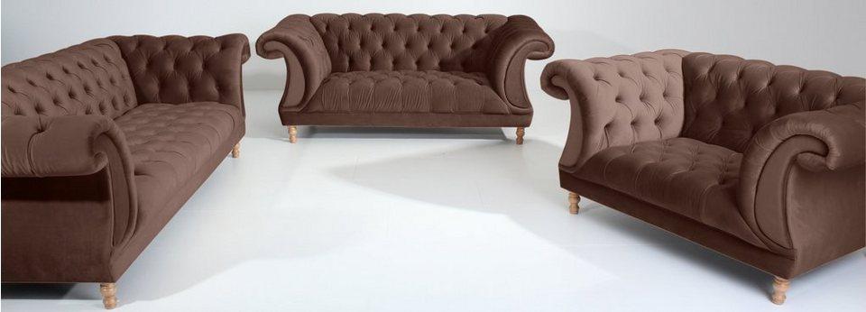 max winzer chesterfield polstergarnitur isabelle mit edler knopfheftung 3 tlg online. Black Bedroom Furniture Sets. Home Design Ideas