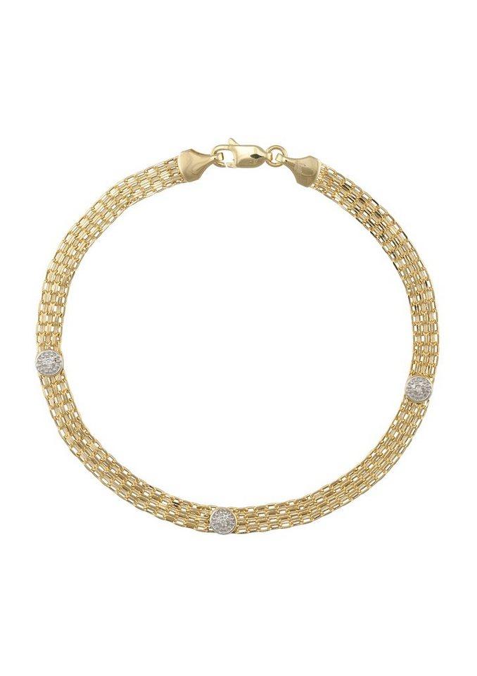 firetti Armschmuck: Armband in Bismarckkettengliederung mit Diamanten in Gelbgold 375/teilweise rhodiniert