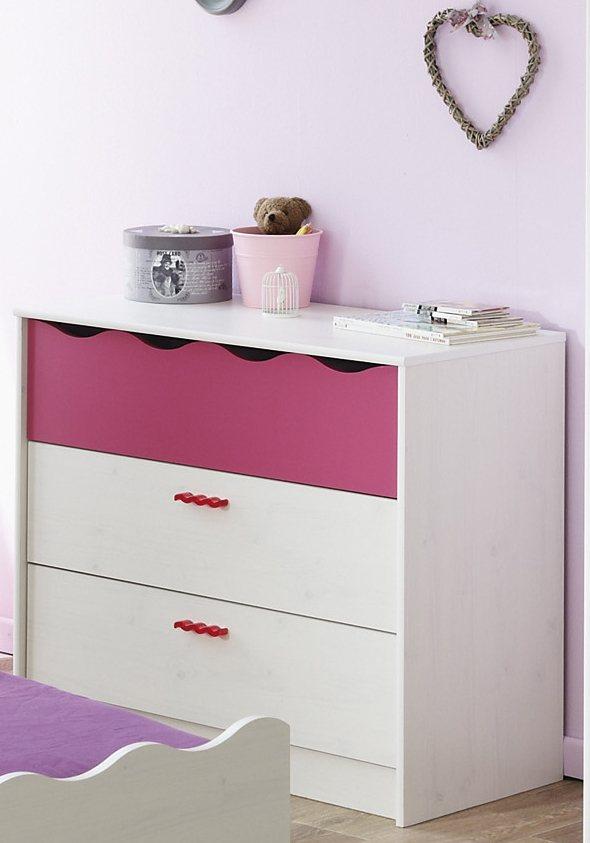 Parisot Schubkastenkommode »Lilou« in weiß/pink