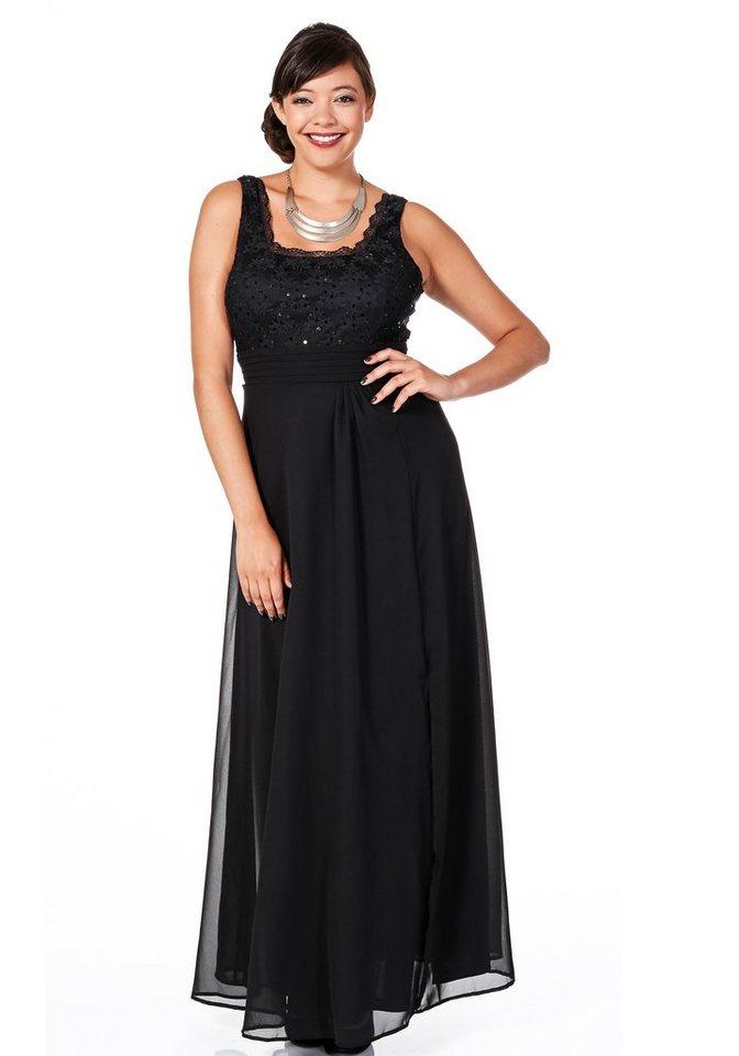 sheego Style Abendkleid mit floraler Spitze in schwarz