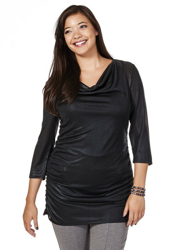 sheego Style Shirt mit Wasserfallkragen in schwarz